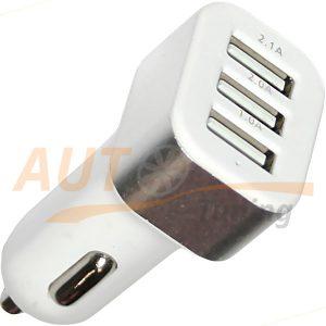 RDX – Автомобильный переходник / адаптер питания, 3 выхода USB, White, DC 12V – DC 5V / 2.1 A, 2.0 A, 1.0 A