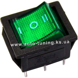 Трехпозиционный клавишный переключатель с подсвет. 12В, on/off/on, Green