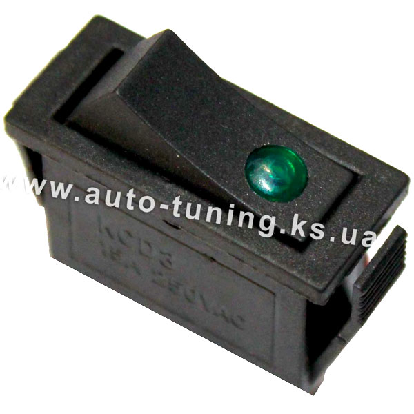 Универсальный врезной клавишный выключатель с подсвет. 24V, on/off, Green