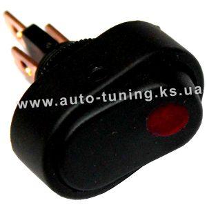 Универсальный клавишный выключатель с подсвет. 12В, on/off, Ø10 mm, Red