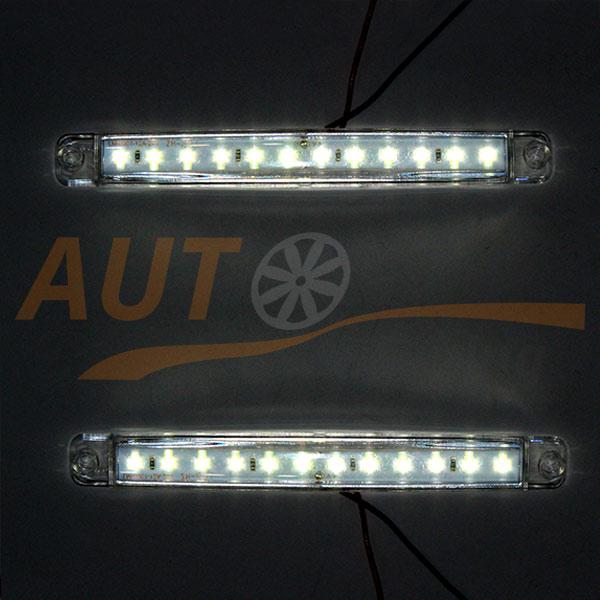 Универсальные белые LED огни на грузовик, DC 24V, 2 шт, White, SM-12W/24