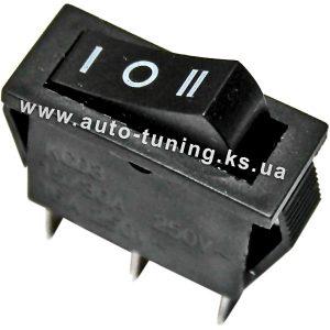 Трехпозиционный клавишный переключатель, on/off/on, Black