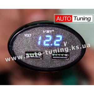 CarVOLT – Автомобильный вольтметр в прикуриватель, 12-24V, 2×USB, VST-708V