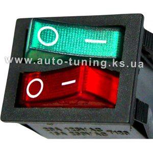 Врезной блок из двух клавишных выключателей с подсвет. 12В, Red & Green