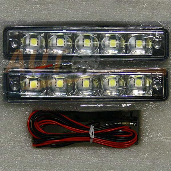 Дневные ходовые огни 5 LED × 2 шт (линза), DC 9-16V, White, DRL-203