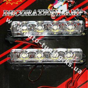 ДХО с эффектом стробоскопа и пультом ДУ, 4 LED × 2 шт, White, HY-1606