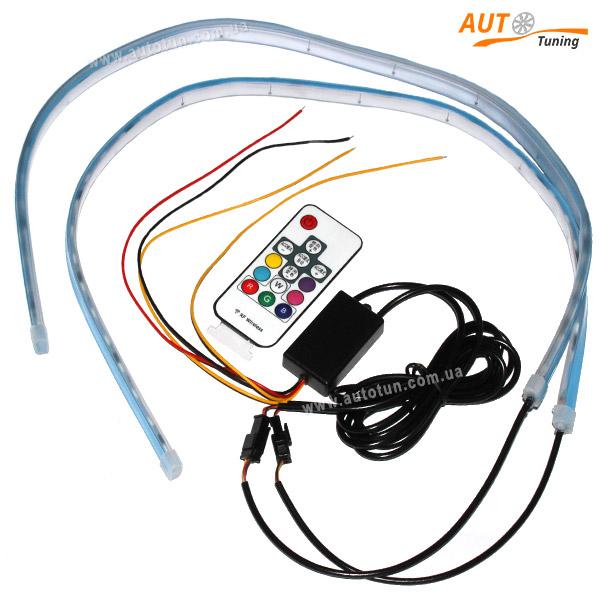 LED ДХО с дублером поворота со световыми эффектами, пульт ДУ, 7 COLOR
