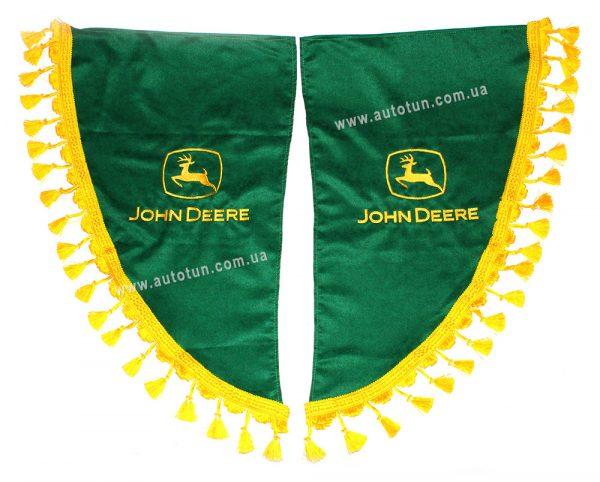 Боковые зеленые шторки с желтыми ламбрекенами в кабину комбайна, Green, JOHN DEERE