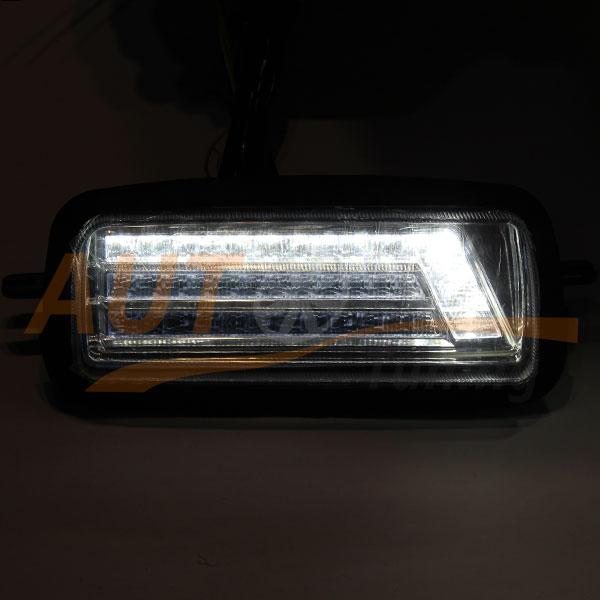 Тюнингованные LED подфарники на ВАЗ 2121 Niva (Urban) с ДХО с бегущим поворотом, Chrome