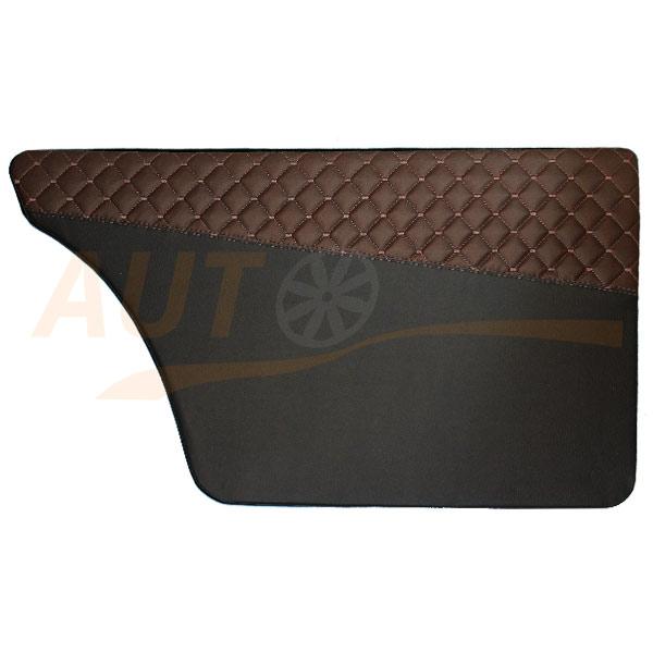 Накладки на двери из экокожи, карты на ВАЗ 2101-07, черно-коричневые, BBR-T790
