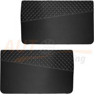 Накладки на двери из экокожи, карты на ВАЗ 2121 (Нива), черный с серой ниткой, BG-N903