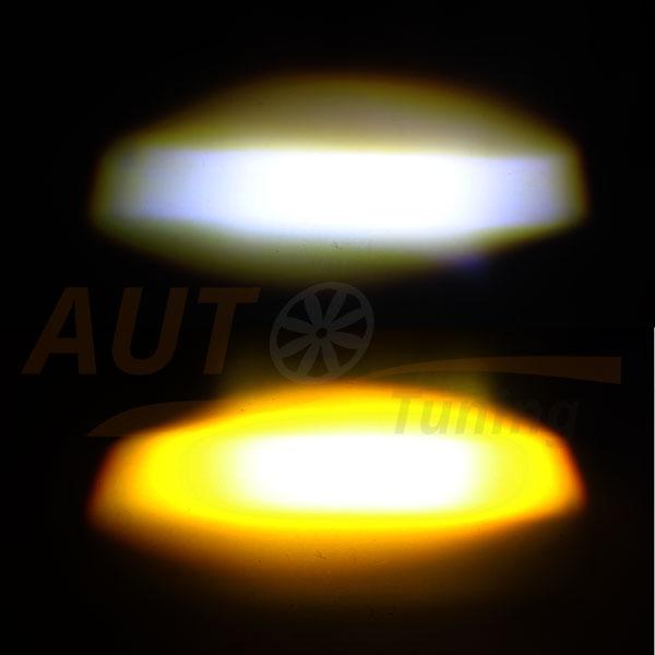 Противотуманки, LED линзы, белый и желтый свет, White & Yellow, BE-906Y