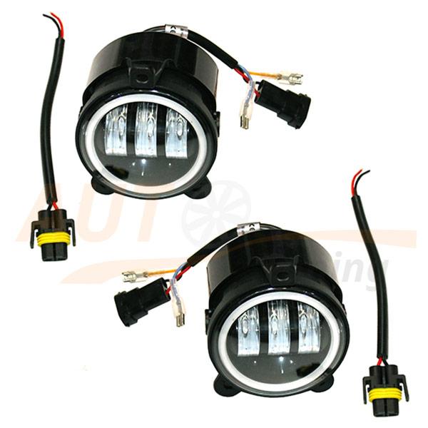 Противотуманные LED-фары на Lada Priora, дублер поворота, ангельские глазки, 2 шт, EE-88930WН